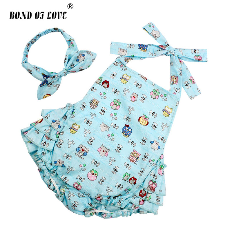 2018 New Baby clothes Cotton Ruffle bloomer Headband Set Sleeveless Toddler Girl Romper Photography Props YC055 headband casual romper jumpsuit baby girl clothes gold polka dot cotton sleeveless outfits set baby girl 3 6 9 12 18 24 monthes