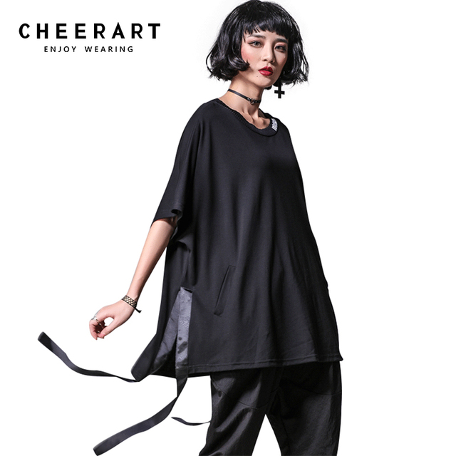 f7aa057827116 Cheerart Streetwear Black T Shirt Women Loose Ribbon Side Split Summer Top  Punk Rock Oversized Tee Shirt Femme