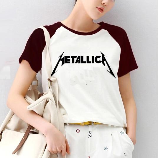 metallica logo print women t shirts female raglan sleeve t shirt skate tee shirt clothes death. Black Bedroom Furniture Sets. Home Design Ideas