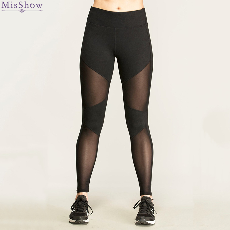 MisShow Black Opening Cross Straps Sports Leggings Women Yoga Pants Cut Out Tie Cuff Workout Fitness Tights Sports Pants