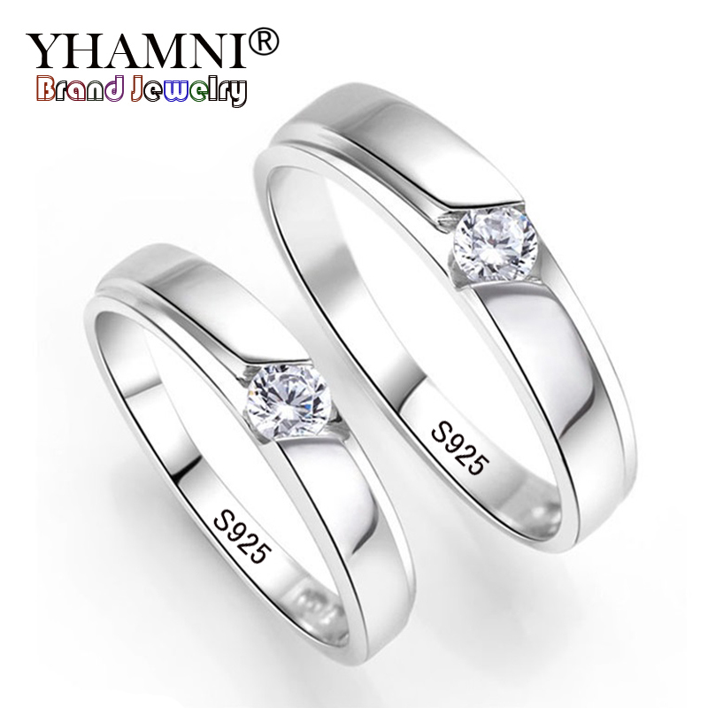 YHAMNI 100% Original Natural 925 Silver Wedding Rings for Men and Women 0.5Ct CZ Engagement Couple Rings Set For Lovers JZD09