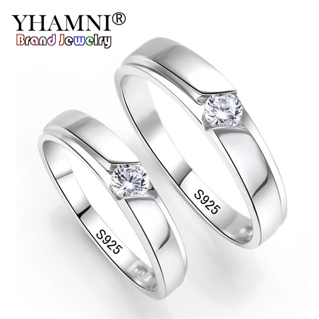 Yhamni 100 Original Natural 925 Silver Wedding Rings For Men And Women 0 5ct Cz