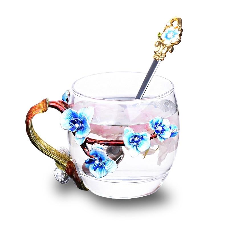 Originality Enamel Cup set High-grade heat-resistant glass Flower cup Euclid lovers