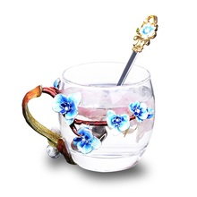 Originality Enamel Cup set High-grade heat-resistant glass Flower cup Euclid lovers