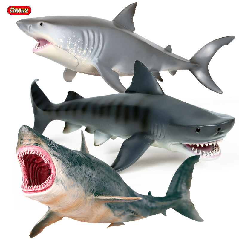 Oenux 3PCS Sea Life Savage Megalodon Whale Shark Model Action Figure PVC Ocean Marine Animal Educational Collection Toy Kid Gift
