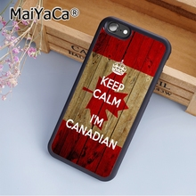 MaiYaCa Canada Flag Keep Calm I'm Canadian Print Soft TPU Mobile Phone Case Funda For iPhone 6 6S Back Cover Skin Shell(China)