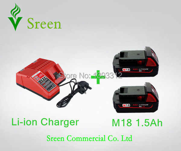 2PCS 1500mAh 18V Rechargable Lithium Ion Power Tool Battery Packs with Charger Replacement for Milwaukee M18 XC 48-11-1815 C18B power tool accessory lithium ion battery charger 14 4v 18v for milwaukee c18c c1418c 48 11 1815 1828 1840 m18 m14 serise parts