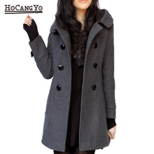 Winter Women Long Coats 2019 Hooded Cashmere Woolen Cotton Coats and Jackets Women Casual Slim Plus