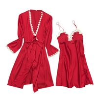 2 STKS/SET Vrouwen Sexy Kant Robe Nachthemd Set Badjas Satin Padded Dames Nachtkleding Thuis Dragen Bandage Gown Nachtjapon Dressing