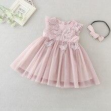 Baby Dress + Match Headband Pink 1st 2nd Birthday Clothes fo