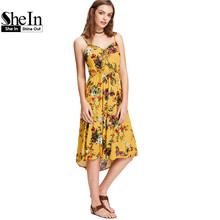 SheIn Tie Front Shirred Back Floral Cami Dress Summer Dresses Casual Yellow Spaghetti Strap A Line High Low Dress