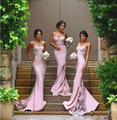 2016 New Design Mermaid Appliqued Lace Appliqued Fitted robe de soiree long Wedding Party bridesmaid dresses
