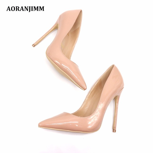 Free shipping real pic AORANJIMM claiss nude patent leather office lady OL style women lady 120mm high heel shoes pump 1