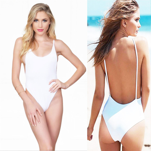 268468836b75 One Piece Swimsuit Women Swimwear Backless Sexy Pure Color Black Red White  Monokini High Cut Low Back Bathing Suit Beach Wear