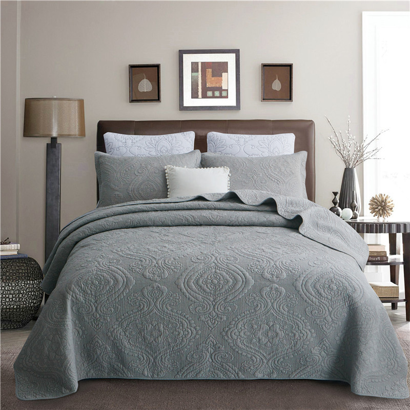 Luxury Gray White Beige Pink European 100 Cotton Bedspread Bed Sheet Bed Linen Bed Cover Summer