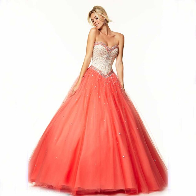 Luxurious Fantastic Ball Gown Sweetheart Floor Length Crystals and beads  Tulle Quinceanera Dresses for Little Girls 5223b2a5475f