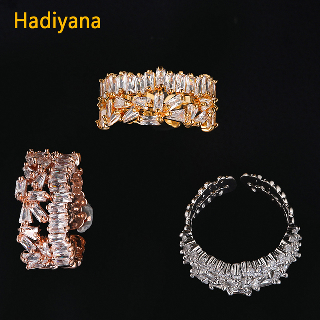 HADIYANA Fashion Copper Adjustable Ring With Ladder Square Zircon Irregular Pave
