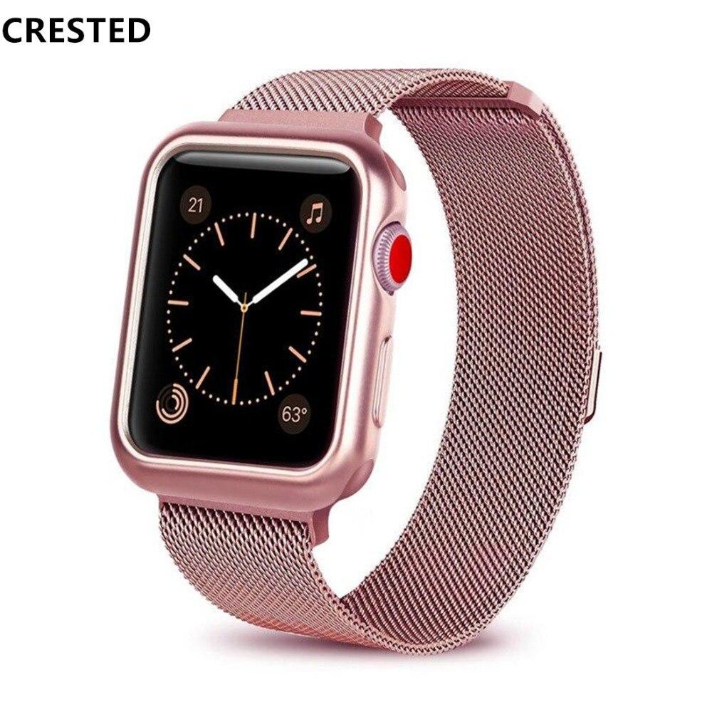 CRESTED fall strap Für Apple Uhr band 4 42mm 38mm 3 iwatch band 44mm 40mm correa edelstahl milanese schleife armband gürtel 2