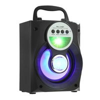 Wireless Portable Multi Functional Bluetooth Speaker Big Drive Unit Bass Colorful Backlight FM Radio Support AUX