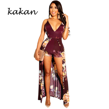 Kakan summer new jumpsuit sexy deep V-neck print tie bare back green blue wine red
