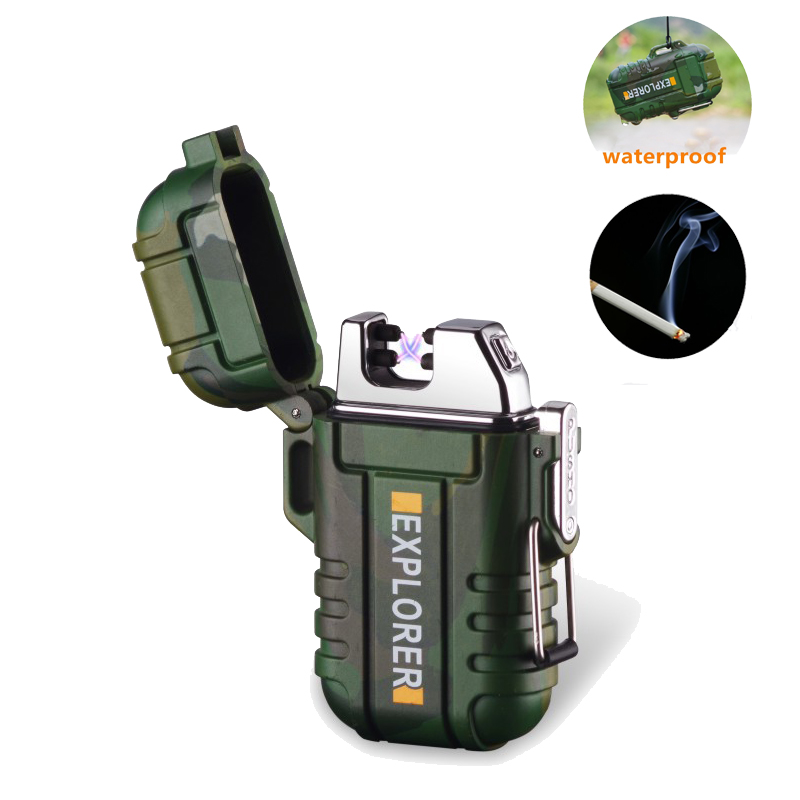 Mini Waterproof USB Plasma Lighter Rechargeable Lighter Camouflage For Outdoor Camping Treval Sports Cigarette Smoking Lighter-in Cigarette Accessories from Home & Garden