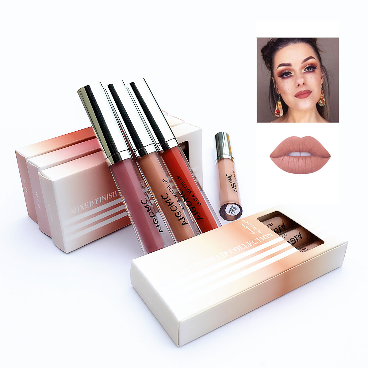 3Pcs/Lot Matte Long-lasting Lipstick Liquid 12 Colors Waterproof Lip Gloss 3.5gx3 Lips Makeup Brand AIGOMC