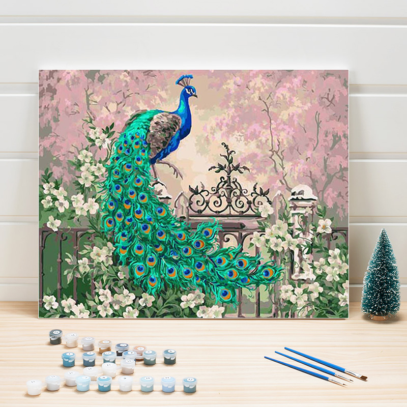 Animal Drawing By Number Peacock 40x50cm Paint Acrylics Canvas Paintings Numbers Walls Pictures For Living Room Decor One Piece