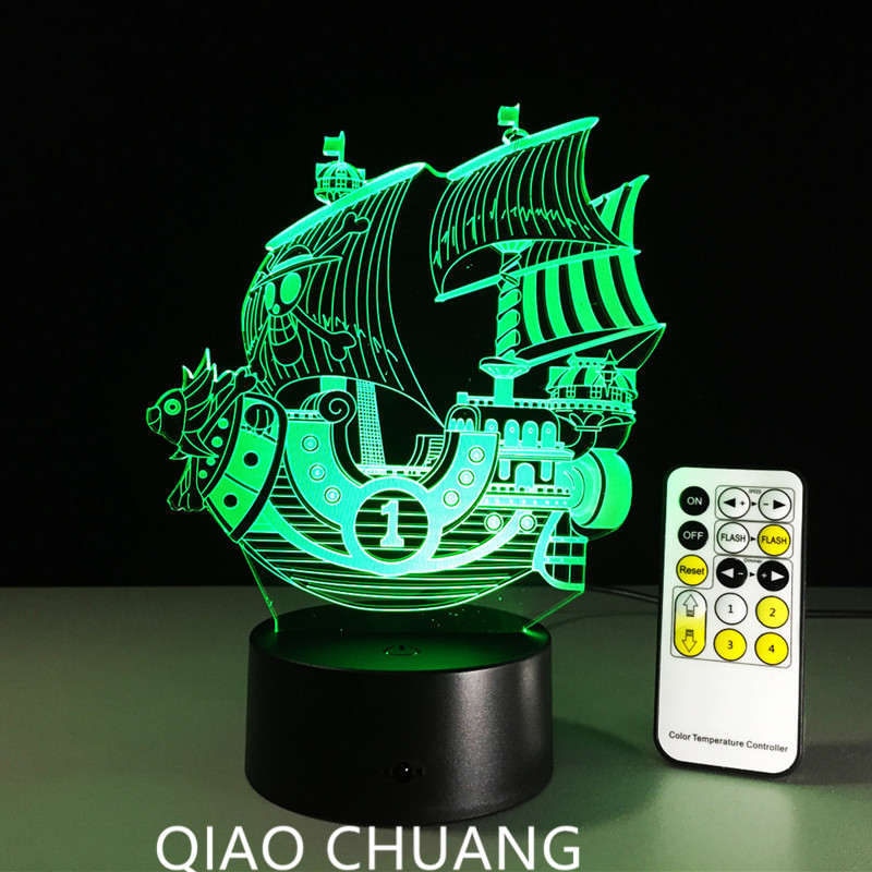 ONE PIECE Smooth Sailing Ferry Colorful Gradient Lights Remote Contro Seven Colors Touch ...