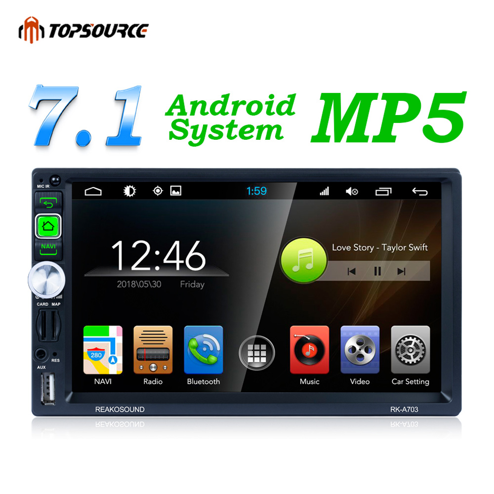 TOPSOURCE 7 Inch Car Mp5 Player for Android Stereo Radio Bluetooth Gps Hd Lcd Screen Touch Display Bt Wifi Am/fm Audio With Usb