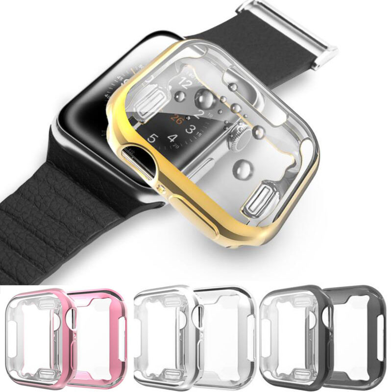 Soft Shell Screen Protector Case Glass Protective Cover Frame Bumper For Iwatch Apple Watch Series 5/4/3/2 38mm 40mm 42mm 44mm