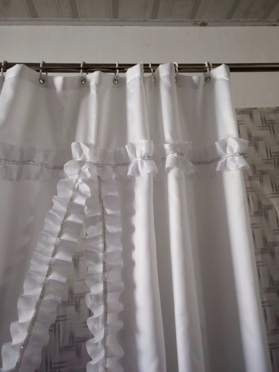 White ruffle shower curtain - 180 180cm Ruffles Shower Curtain Polyester Waterproof Bathroom Bath Curtain Screen Office Drape Partition Wall Purdah In Shower Curtains From Home Garden