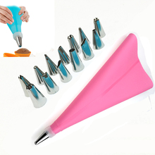 16 PCS/Set Pink Silicone Kitchen Accessories Icing Piping Cream Pastry Bag + 14 Stainless Steel Nozzle Set DIY Cake Decorating T