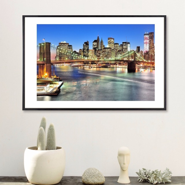 New York City Night Quote Canvas Art Print Poster Wall Pictures For ...