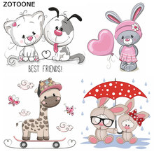 ZOTOONE Cute Cartoon Animal Iron on Appliques Stripe Stickers Clothes DIY Heat Transfer Washable Application Thermo