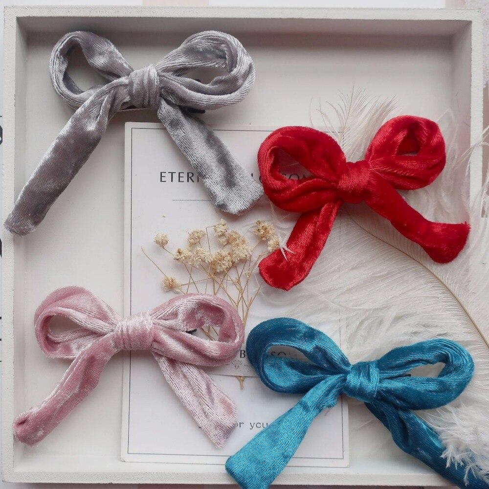 Boutique 20pcs Fashion Cute Velvet Hair Bow Hairpins Solid Bowknot Hair Clips Hair Accessories Princess Winter