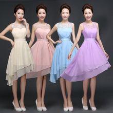 New short bridesmaids sister dress.Sexy Chiffon Bridesmaid Dress Princess dress.tank party Gown Banquet Elegant Formal Dresses