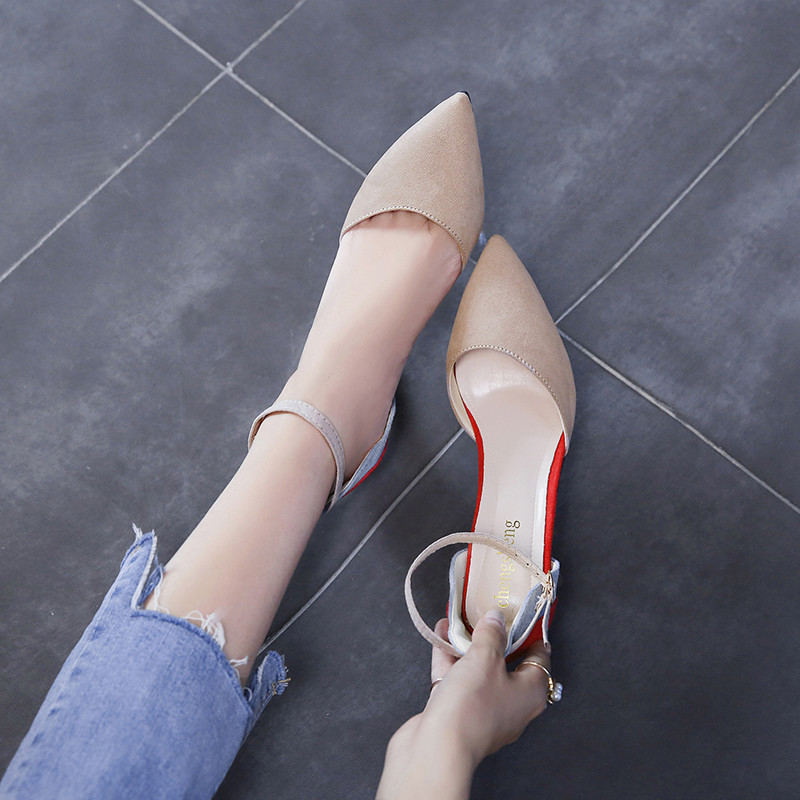 Suede Pointed Toe Thin Heels High Heels sandals women Autumn Summer shoes woman Was Thin Shallow Buckle Strap ladies shoes in High Heels from Shoes