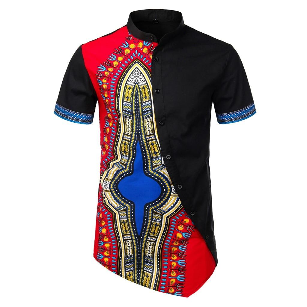 Hommes chemises afrique ethnique chemises hommes à manches courtes été décontracté chemise grande taille chemisette homme manche court 702 #3