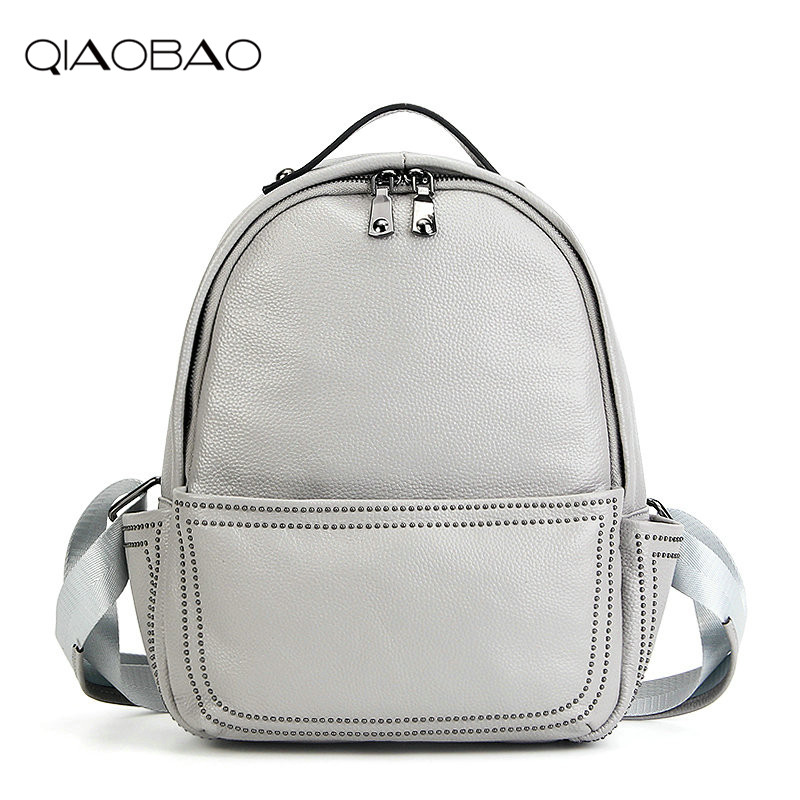 QIAOBAO 2017 100 Genuine Leather Backpack Women Bag Oil Wax Cow Leather Vintage Backpacks Female Back