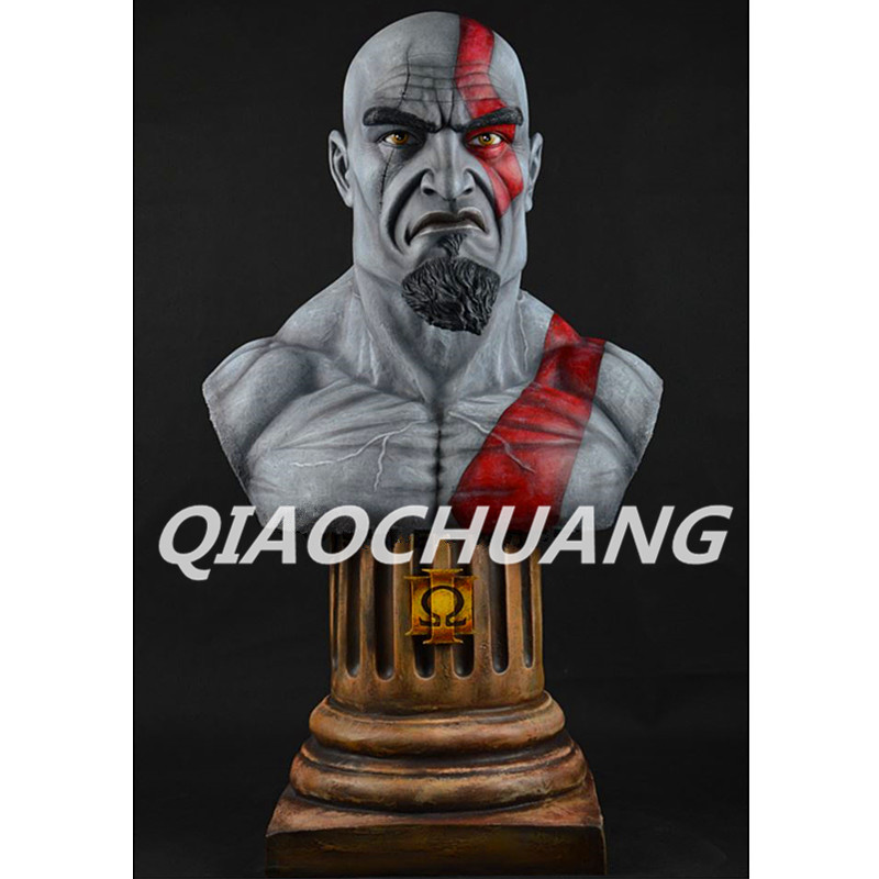 Kratos Statue The son of Zeus 1:1 (LIFE SIZE) Bust God of War Half-Length Photo Or Portrait Resin Collectible Model Toy Boxed statue avengers captain america 3 civil war iron man tony stark 1 2 bust mk33 half length photo or portrait with led light w216