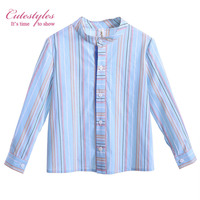 Pettigirl Causal Boy Shirts Stripe Cotton Baby Tops Sky Blue And Pink  Stand Collar Kids Clothing B-DMBT906-802