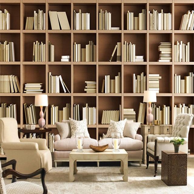 Foto Tapete Nach 3D Stereo Bücherregal Hintergrund Wandbild Moderne  Einfache Bibliothek Wohnzimmer Schlafzimmer Innen Decor Fresko