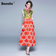 Banulin Runway Summer Women Leopaid Patchwork Floral Print Turn Down Neck Elegant Holiday Long Maxi Dress Robe Boho Vestidos цена
