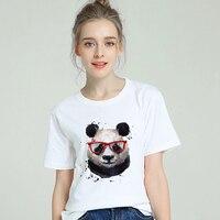 2019 New Cotton Tshirt Women Harajuku Aesthetic Cool Panda Art T shirt Short Sleeve Femme T shirt Modis Top Tees Streetwear
