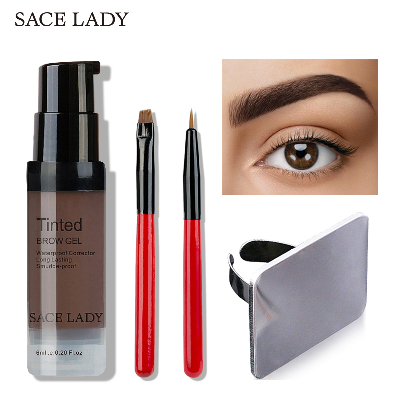 SACE LADY Waterproof Eyebrow Henna Makeup Enhancer Tint Brush Kit Eye Brow Gel Cream Make Up Stamp Set Paint Tool Wax Cosmetic intensive eyebrow tinting brush for brow tint dye colour