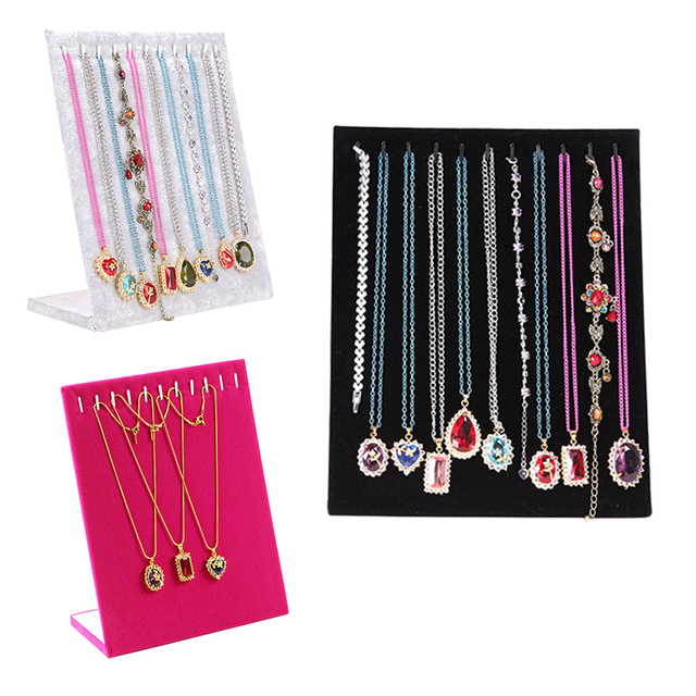 Aliexpresscom Buy 11 Hook L type Velvet Necklace Display ShowCase