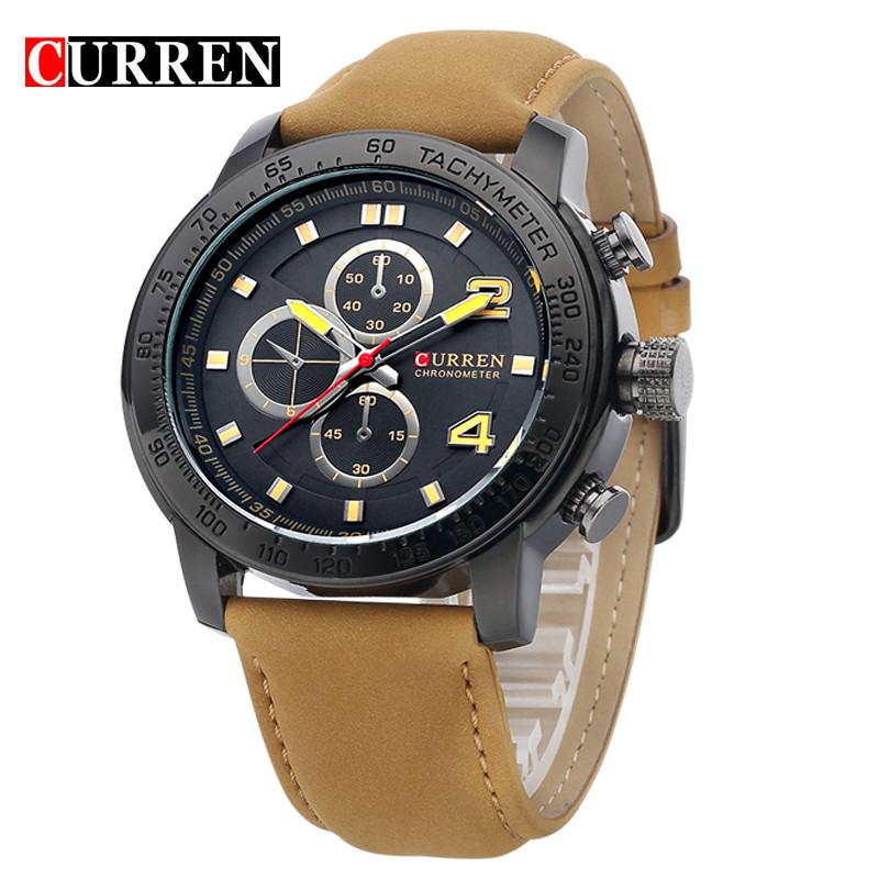 Prix pour Curren Montres Hommes Sport De Luxe Casual Horloge À Quartz Bracelet En Cuir Robe Montre-Bracelet Relogio Masculino Hommes Cadeaux 8190