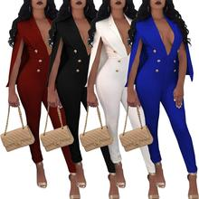 2019 Fashion Cape Sleeve Surplice Button Front Jumpsuit Deep V neck Split Sexy Women Elegant