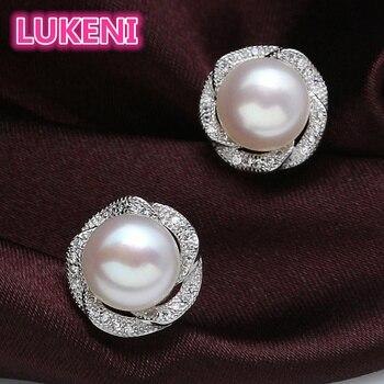 7a2bb6f6f644 Nivel Superior moda perla pendientes 8-9mm perla natural Rose Stud pendientes  925 pendientes de plata de ley para las mujeres