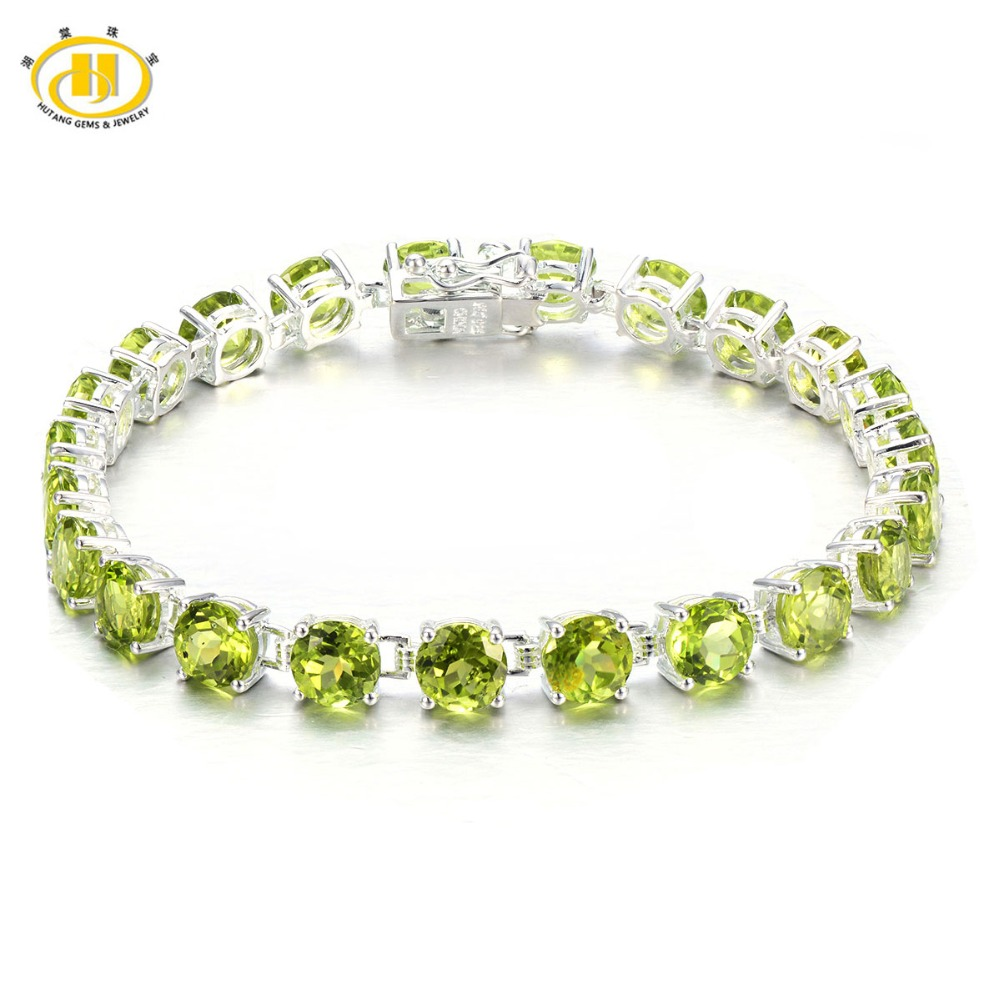 Hutang 21.41Ct Natural Peridot Solid 925 Sterling Silver Link Chain Bracelet for women Round 6mm Gemstone Fine Jewelry 7.25